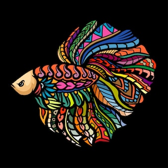 Betta 물고기 마스코트의 zentangle 예술. esport 로고 디자인
