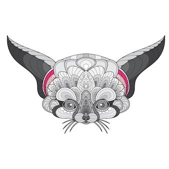 Zentangle стилизованная голова лисы fennec