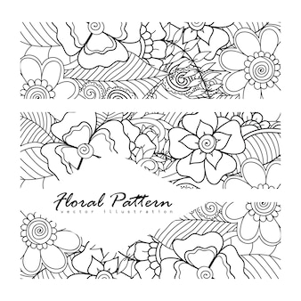 Zentangle flowerの花のコンポジション。