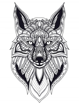 Zentangle fox line art vector illustration