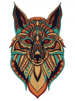 Zentangle fox vector illustration