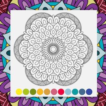 Zentangle mandala for adults relaxing coloring book.
