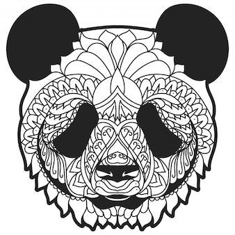 Zentangle panda line art vector illustration