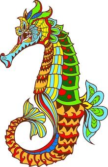 Zentangle 양식 된 만화 해 마 손으로 그린 된 스케치