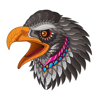 Zentangle stylized eagle head-vector illustrations