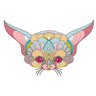 Zentangle stylized fennec fox head