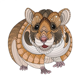 Zentangle stylized hamster-vector illustrations