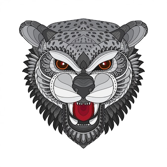 Zentangle stylized tiger head-vector illustrations