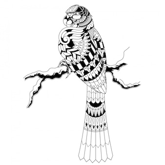 コンゴウインコの図、曼荼羅zentangleとtシャツのデザイン