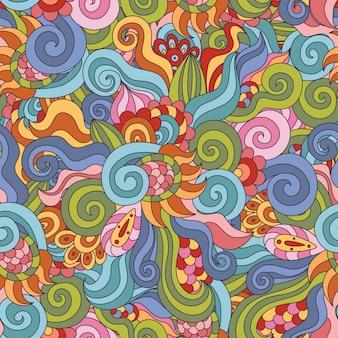 カラフルなzentangleシームレスパターン