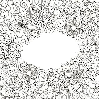 Цветочная декоративная рамка zentangle