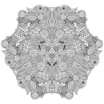 モノクロの手描きの装飾的なzentangle