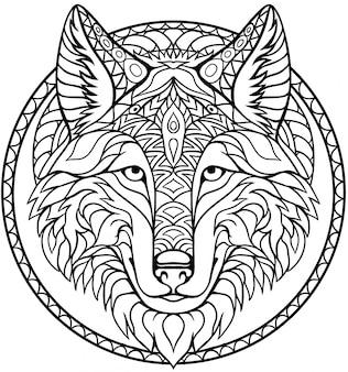 大人と子供のための手描きzentangleオオカミの頭塗り絵ページ
