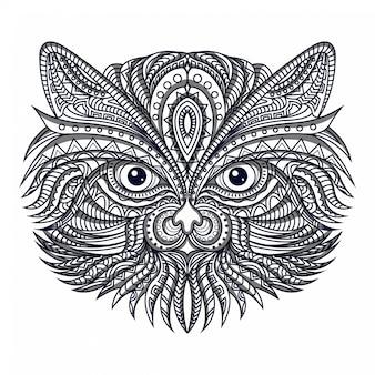 Линия искусства голова сова zentangle вектор