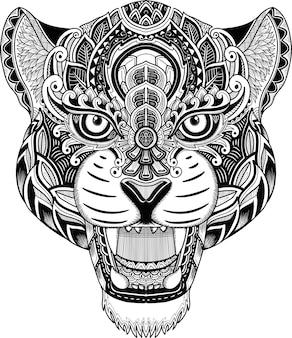 チーターヘッドzentangleスタイルの白と黒