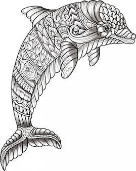 手描きzentangleイルカ