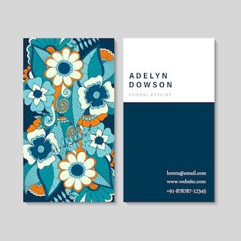 Набор визитных карточек с zentangle рисованной цветами