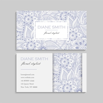 Zentangle手描きの花と名刺のセット。テンプレート