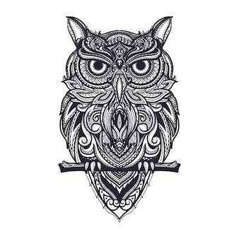 Нарисованная рукой иллюстрация совы zentangle