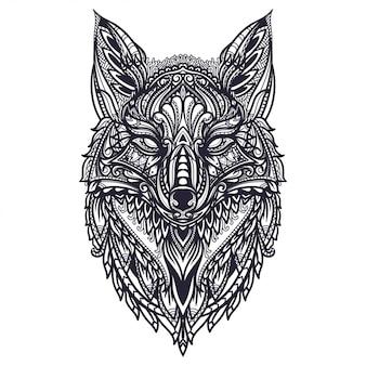 Нарисованная рукой иллюстрация лисы zentangle