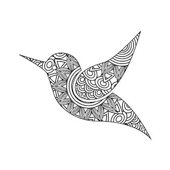 鳥の大人の着色ページのためのzentangleを描く