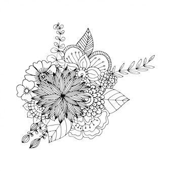 大人の塗り絵の手描きzentangle落書きイラスト