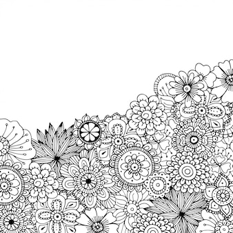 Ручной обращается zentangle каракули иллюстрации для взрослых раскраски