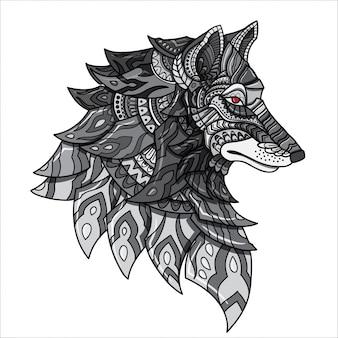 Рисованной каракули zentangle волк иллюстрация-вектор.