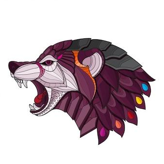 Zentangle стилизованная голова волка. векторная иллюстрация