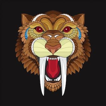 Zentangle定型サーベルの虎の頭