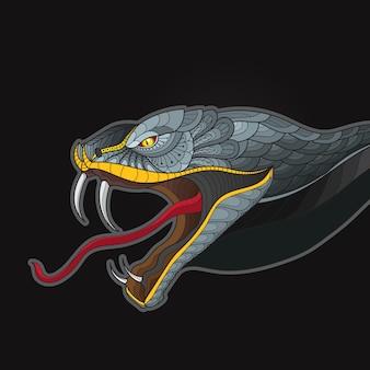 Zentangle стилизованная голова кобры змеиного короля