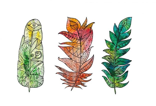 手描き羽は落書き、zentangle、花、ヴィンテージの要素と水彩の背景に設定します。