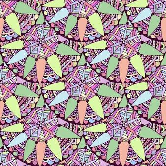 ベクトルでシンプルな落書きの花の背景。部族の民族パターン。大人のぬりえの本のページのためのzentangle。