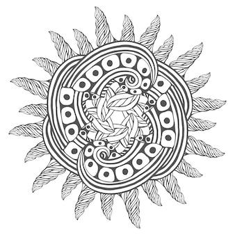 ブックページを着色するための魔法のzentangleアート。タトゥーデザインのマンダラ