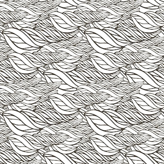 抽象的な波の装飾とベクトルパターン。大人のぬりえの本のページ。 zentangleシームレスなデザイン。