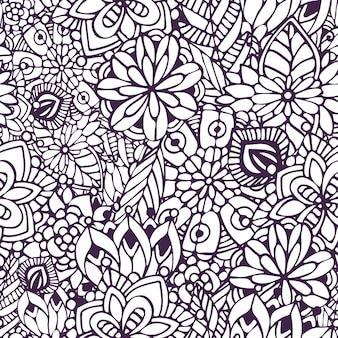 Цветная страница zentangle. бесшовный фон с пучками в векторе. творческий цветочный фон для вашего дизайна, оберточная бумага