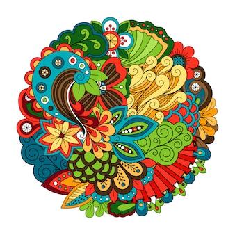 エスニック落書き花柄zentangleのようなサークル柄