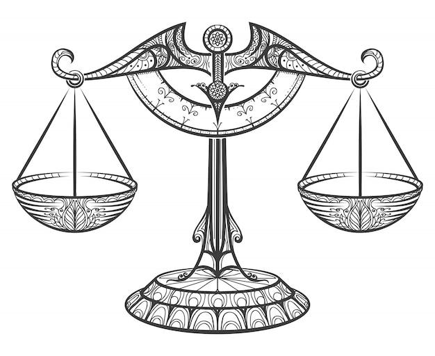 Весы зодиака, нарисованные в стиле zentangle