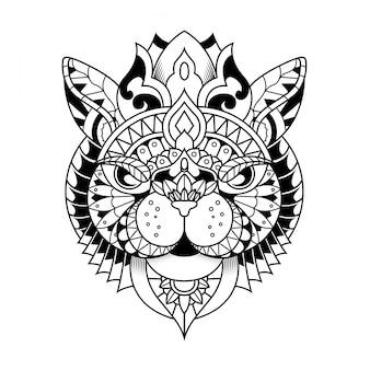 Иллюстрация кошки, мандала zentangle и дизайн футболки