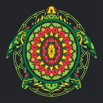 Красочная черепаха иллюстрация мандала zentangle