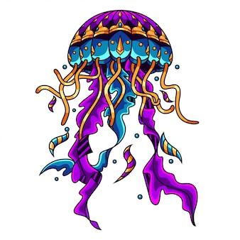 Медуза мандала zentangle иллюстрация и дизайн футболки