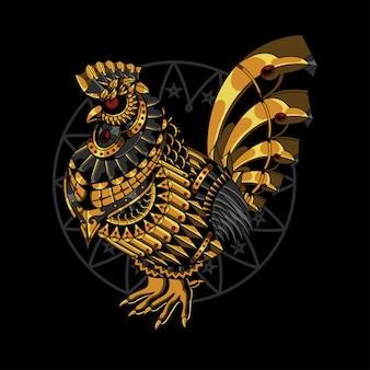 Zentangleスタイルのゴールドチキンイラスト