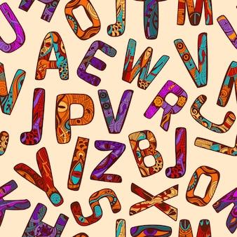 Zentangleアルファベットのシームレスパターン