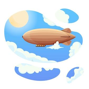 Дирижабль в голубое небо и облака. винтажный дирижабль zeppelin. дирижабль