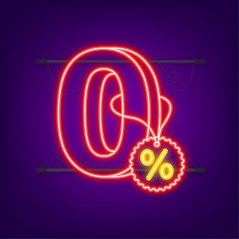 Нулевая комиссия. элемент дизайна. красное ограниченное предложение. неоновая иконка. значок специального предложения. векторная иллюстрация штока.