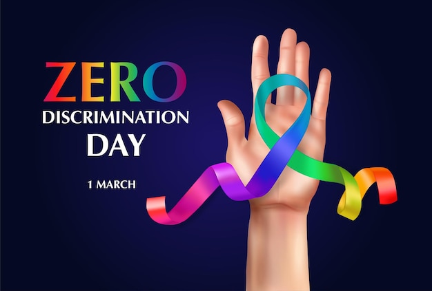 Zero discrimination day horizontal composition with editable text and human hand with curly rainbow colored ribbon illustration