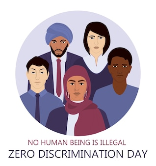 Zero discrimination day web or ad banner. group of people of different race, nationality and gender. equal rights for emigrant. international movement against discrimination.