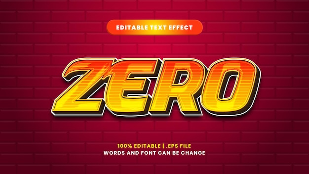 Zero editable text effect in modern 3d style