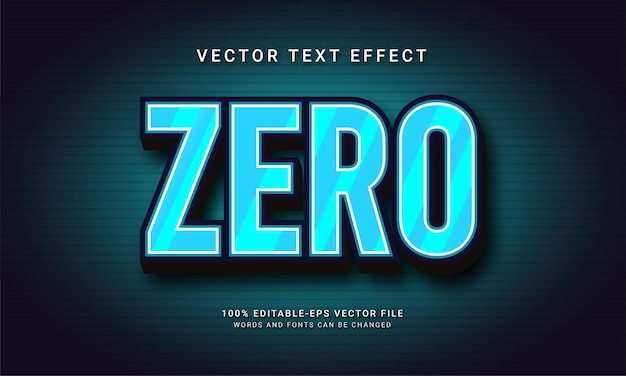 Zero editable text effect with blue color theme