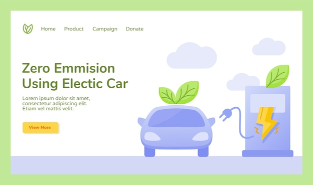 Zero emission using electric car leaf plug charge electricity campaign